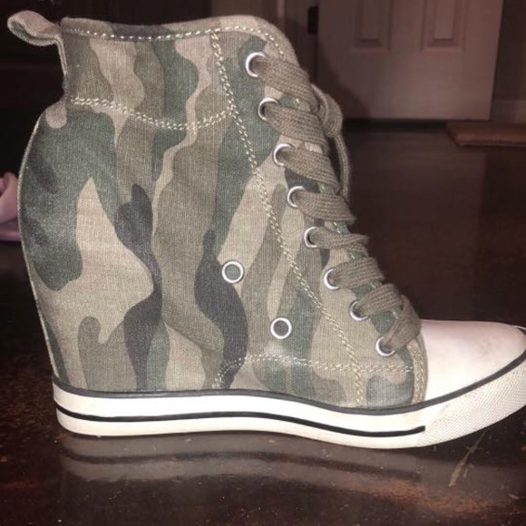e556d19a61172 Guess Shoes   Camo Sneaker Wedges Good Condition   Poshmark